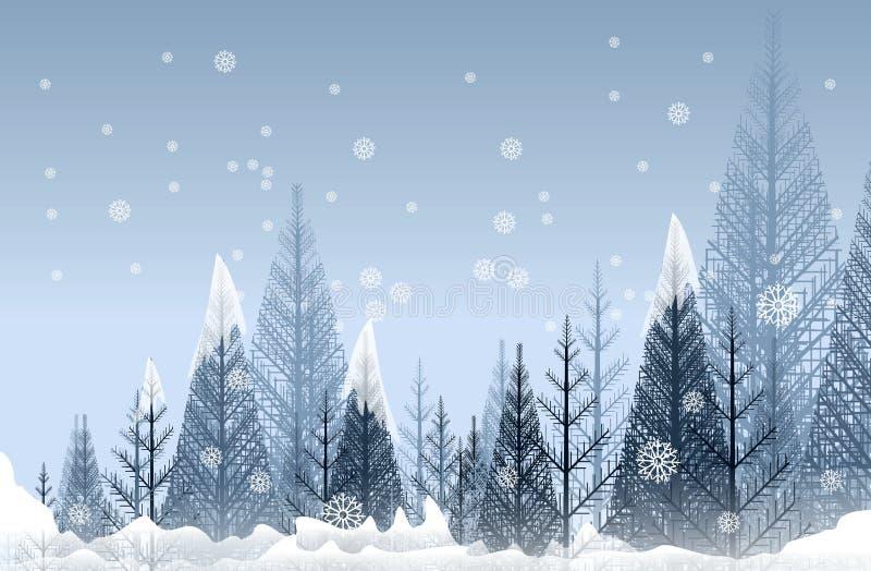 Mystisk vinterskog stock illustrationer