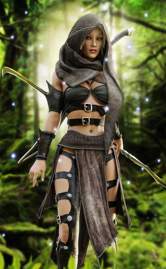Mystisk wood älvakrigare i en mystisk skoginställning royaltyfri illustrationer