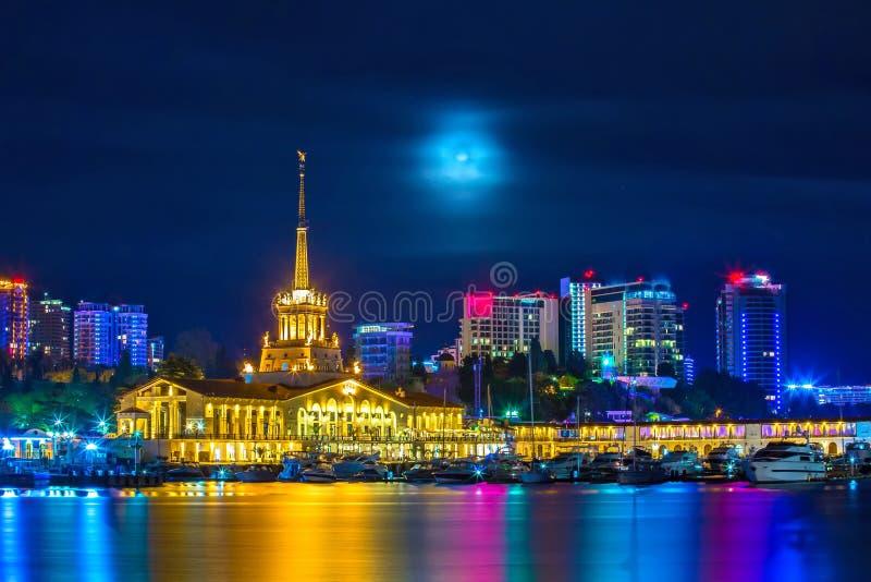 Mystiska Sochi, centrala Marine Station, välkomnande till Ryssland 2018 royaltyfri bild