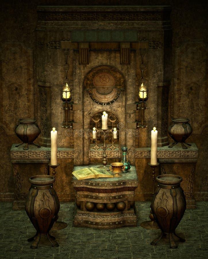 mystiskt altare stock illustrationer