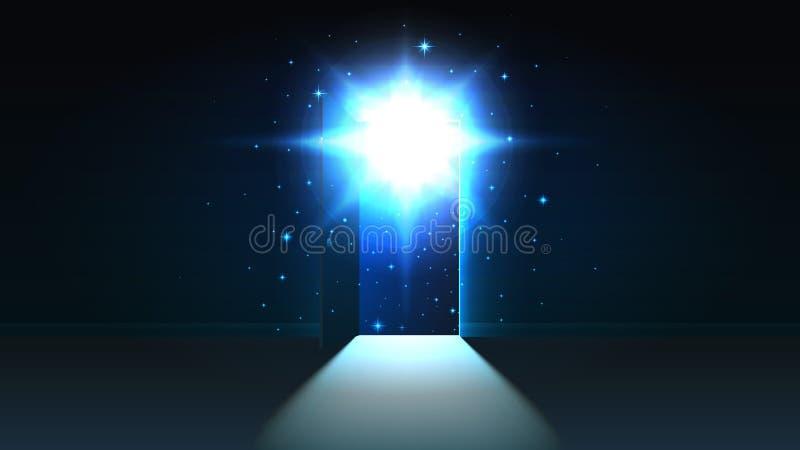 Mystiskt ljus från den öppna dörren av ett mörkt rum, öppet utrymme, kosmos, bakgrund, abstrakt glödande utgång för upptäckt, åtl royaltyfri illustrationer