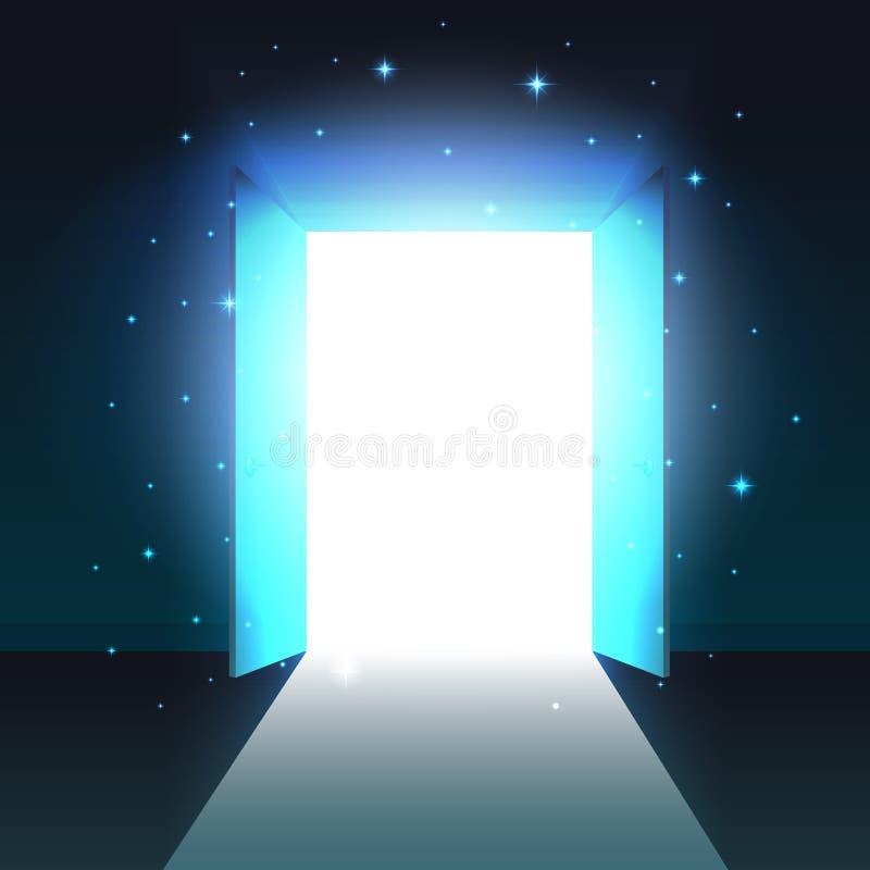Mystiskt ljus från den öppna dörren av mörkt rum, abstrakt glödande utgång, bakgrund, öppen mall för dubbel dörr, åtlöje upp royaltyfri illustrationer