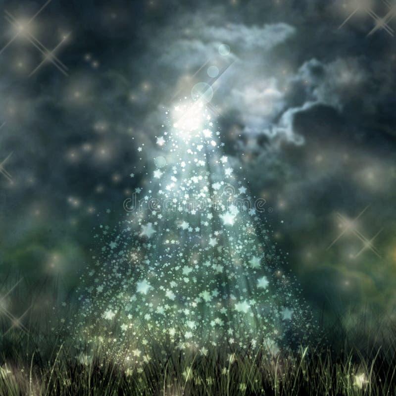 Mystiskt månsken som flödar från den mörka himlen till jordning vektor illustrationer