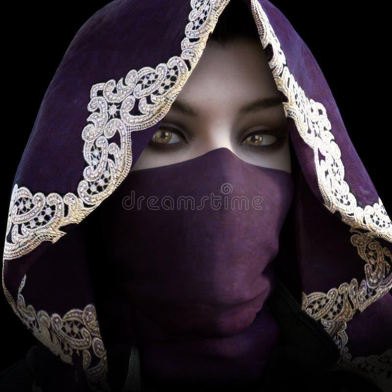 Mystiskt maskerat med huva kvinnligt stirra på kameran stock illustrationer