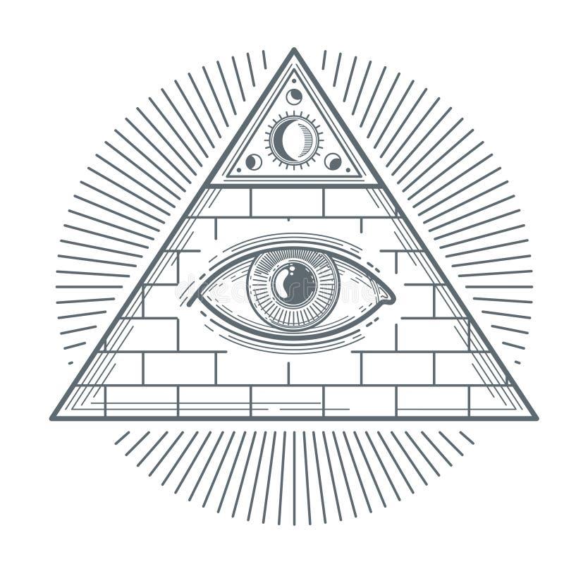 Mystiskt ockult tecken med illustrationen för vektor för frimureriögonsymbol stock illustrationer