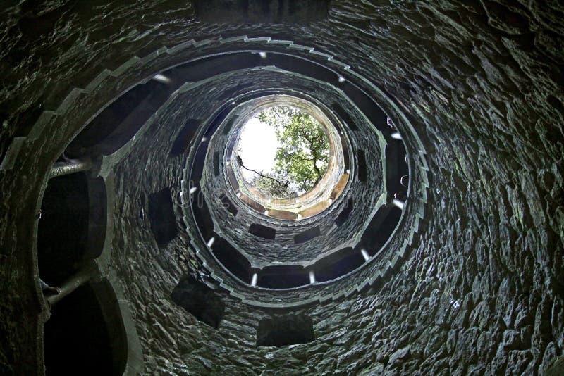 Mystiskt väl i godset Quinta da Regaleira arkivbild