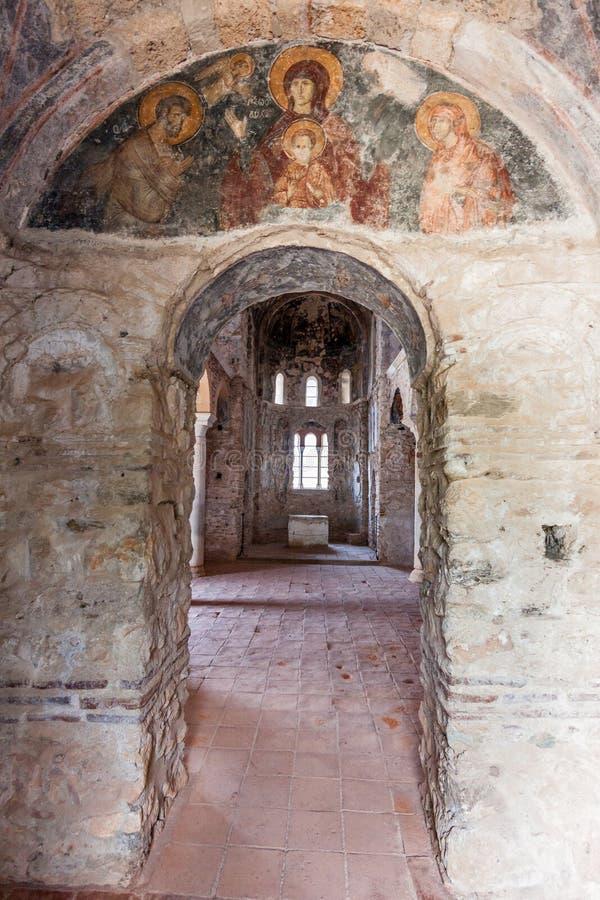 Mystras Church Ruins Greece Frescoe. A religious frescoe on top of a door inside the ruins of a byzantine church. Mystras, Peloponnese, Greece stock photography