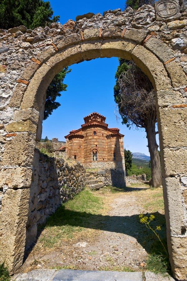 Mystras, Evangelistria-Kerk royalty-vrije stock afbeelding