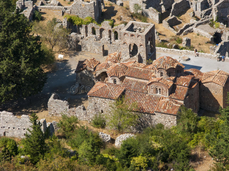 Mystras. The historic city of Mystras in Peloponnese stock images