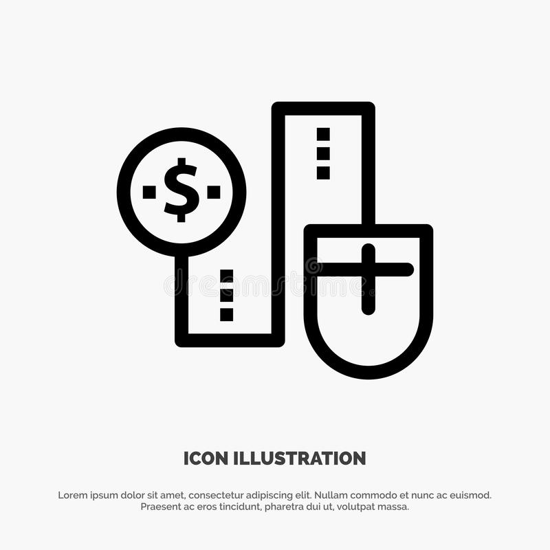 Mysz, Łączy, pieniądze, dolar, związek ikony Kreskowy wektor royalty ilustracja