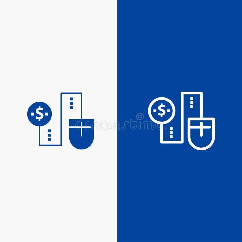 Mysz, Łączy, pieniądze, dolara, związek linii i glifu Stałej ikony sztandaru glifu, Błękitnej ikony błękita Stały sztandar ilustracja wektor