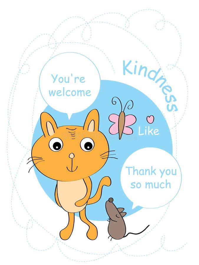 Mysz dziękuje ciebie kot karta ilustracja wektor