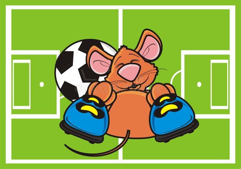 Mysz kłama na boisku piłkarskim z piłką i inicjuje royalty ilustracja