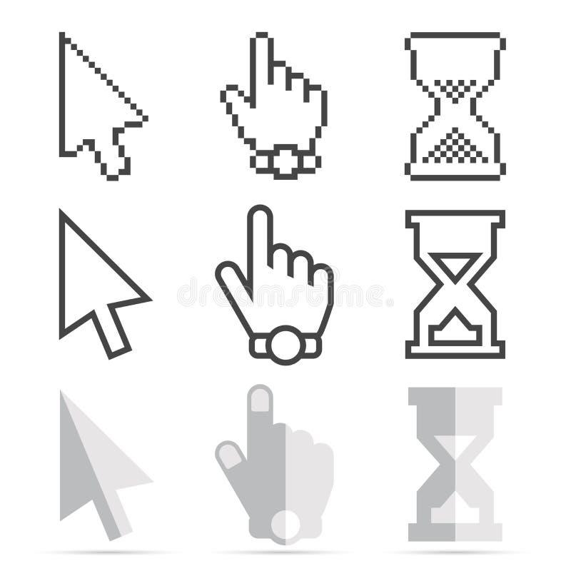 Mysz kursoru ikona Ustawiająca - piksel, Gładkie strzała, ręki i Hourglasses zegary, royalty ilustracja