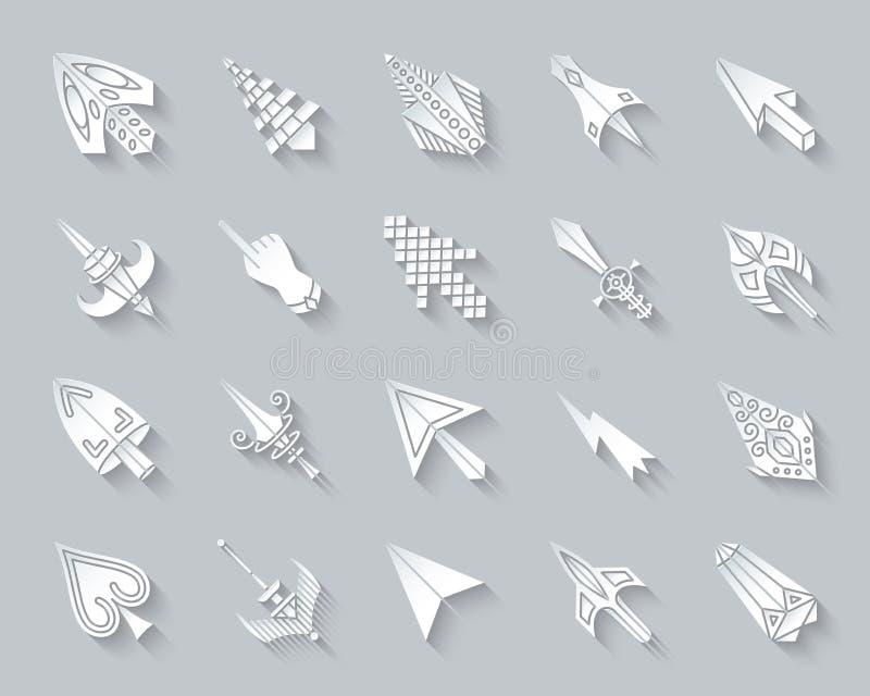 Mysz kursoru prostego papieru ikon wektoru rżnięty set ilustracji