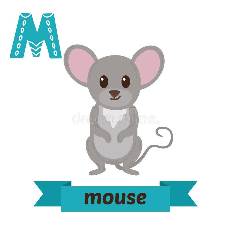 mysz m letter Ślicznych dzieci zwierzęcy abecadło w wektorze śmieszny ilustracji