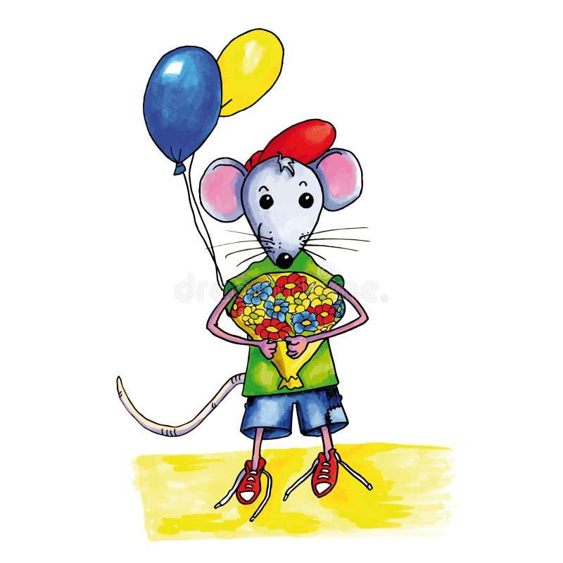Mysz urodziny kwiaty royalty ilustracja
