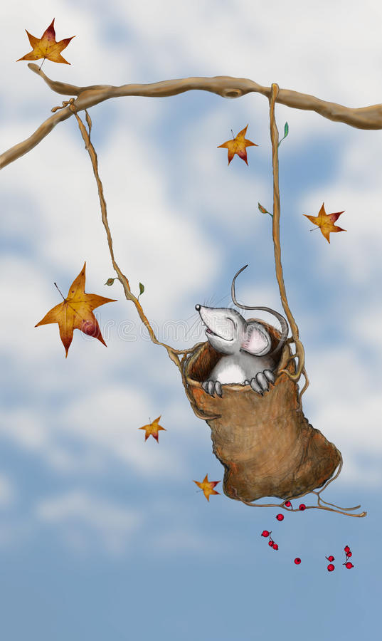 Mysz w huśtawce royalty ilustracja