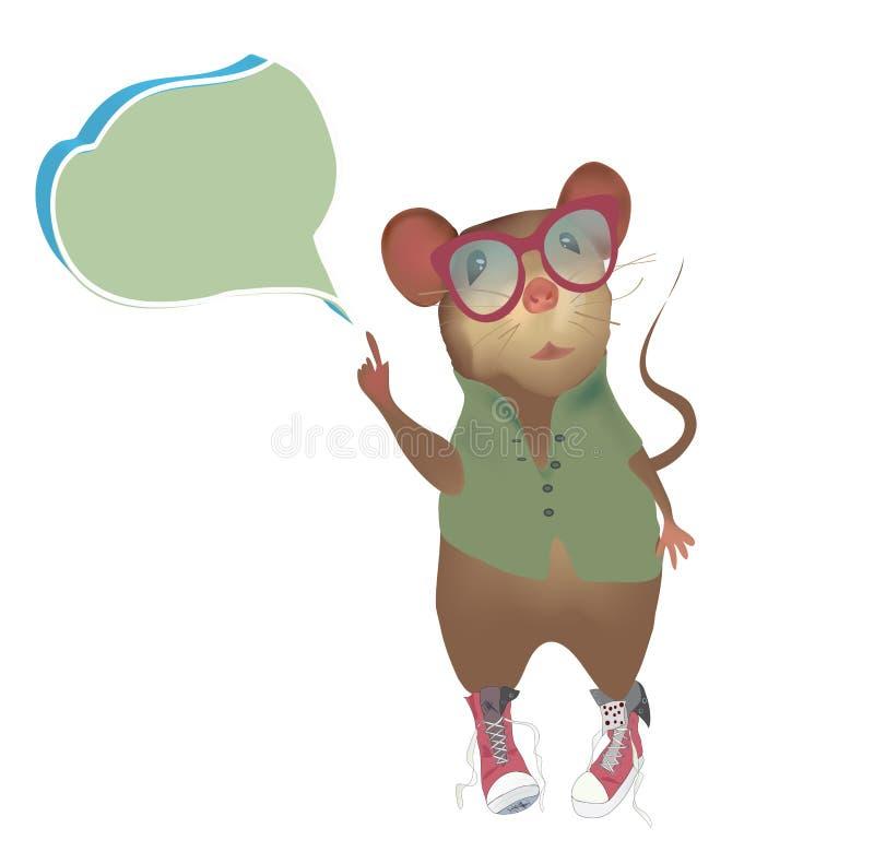 Mysz z mówienia lub myśli bąblem royalty ilustracja