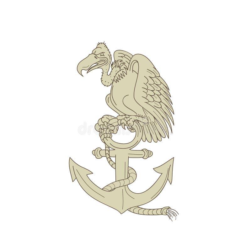 Myszołowa tyczenia marynarki wojennej kotwicy kreskówka ilustracji