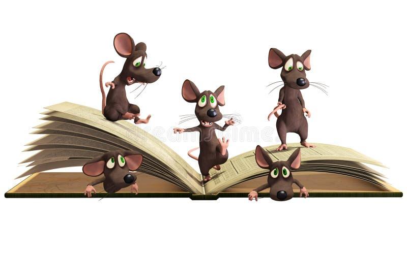 Myszy czytelnicza książka ilustracja wektor