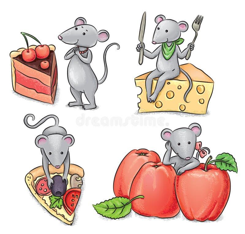 Myszy i jedzenie ilustracja wektor