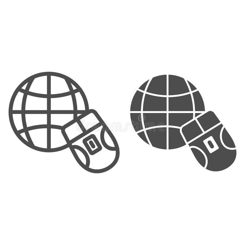 Myszy i kuli ziemskiej linia i glif ikona Pracuje na internet wektorowej ilustracji odizolowywającej na bielu Iść sieć konturu st royalty ilustracja