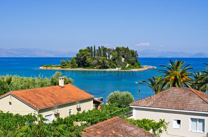 Myszy wyspa na Corfu, Geece (Pontikonissi) obraz royalty free