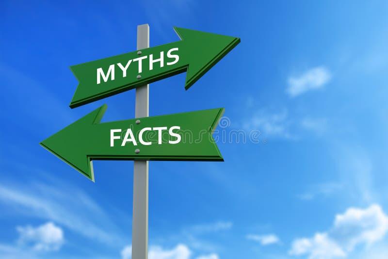 Myter och faktumpilar mitt emot riktningar stock illustrationer