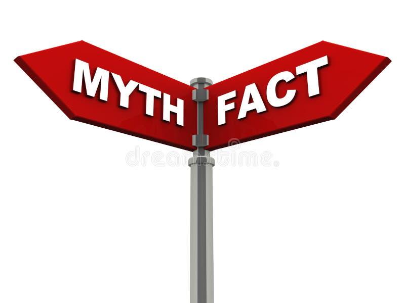 Myth eller faktum vektor illustrationer