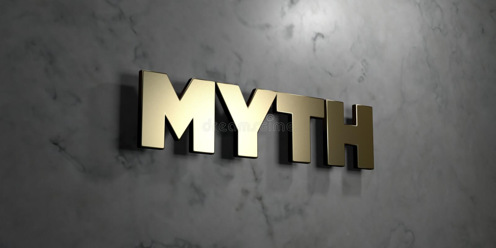 Myth - Gold sign mounted on glossy marble wall - 3D rendered royalty free stock illustration vector illustration