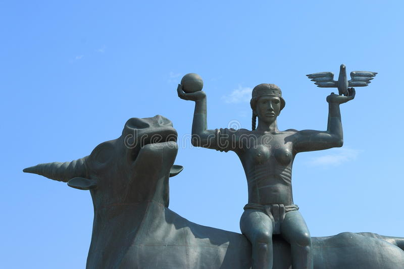 Myth. Sculpture the of Europe based on the ancient Greek myth. Agios Nikolaos. Crete, Greece royalty free stock photography