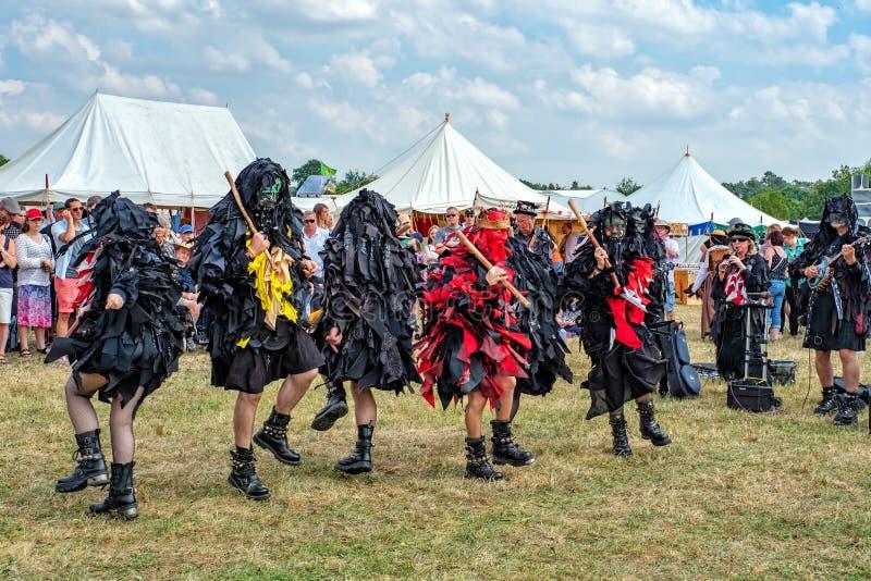 Mythago Morris Dancers, festival medieval de Tewkesbury, Inglaterra imagens de stock