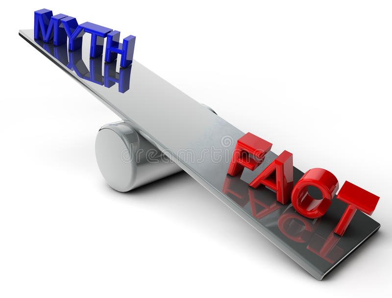 Mythe en Feit stock illustratie