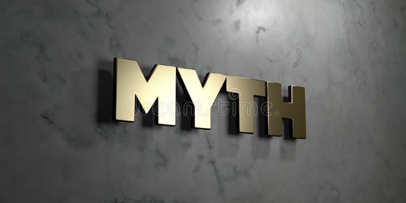 Mythe - Gouden teken opgezet op glanzende marmeren muur - 3D teruggegeven royalty vrije voorraadillustratie vector illustratie