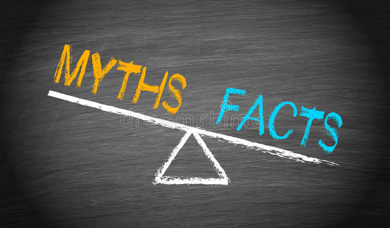 Mythen und Tatsachen stock abbildung