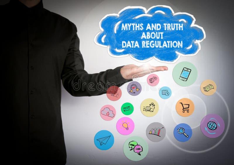 Mythes et environ le règlement de données, règlement général de protection des données, concept de GDPR photographie stock libre de droits