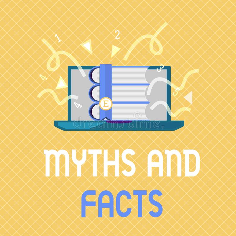 Mythes et faits des textes d'écriture de Word Concept d'affaires pour le concept oppositif au sujet de la période moderne et anti illustration stock