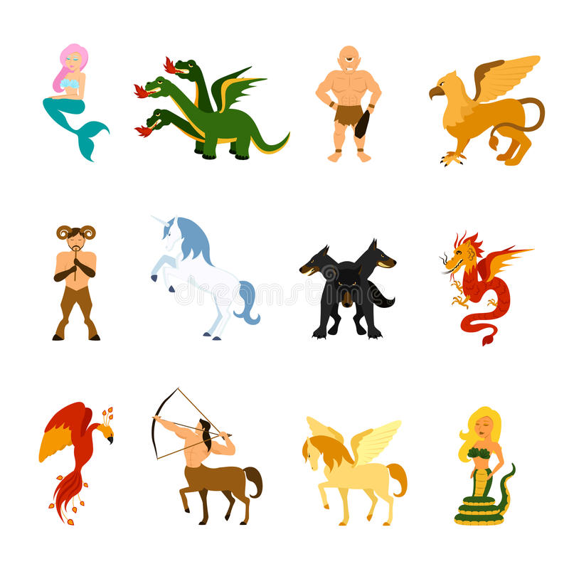 Mythical Creature Images Set stock illustration