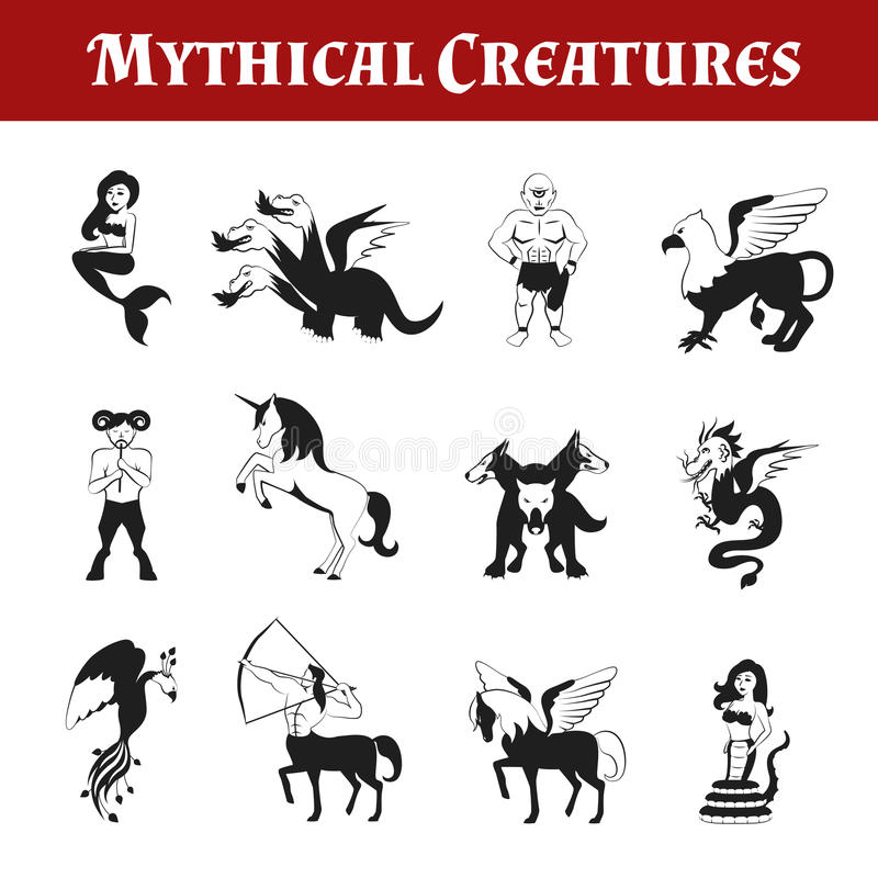 Mythical Creatures Black And White vector illustration