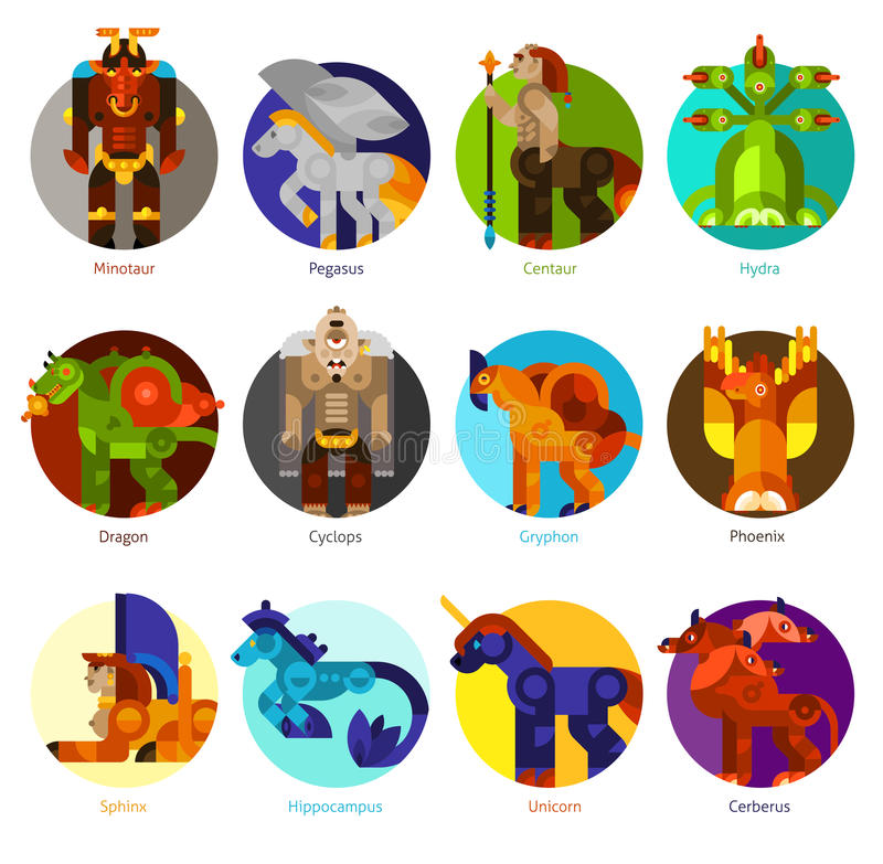 Mythical creatures icons set royalty free illustration