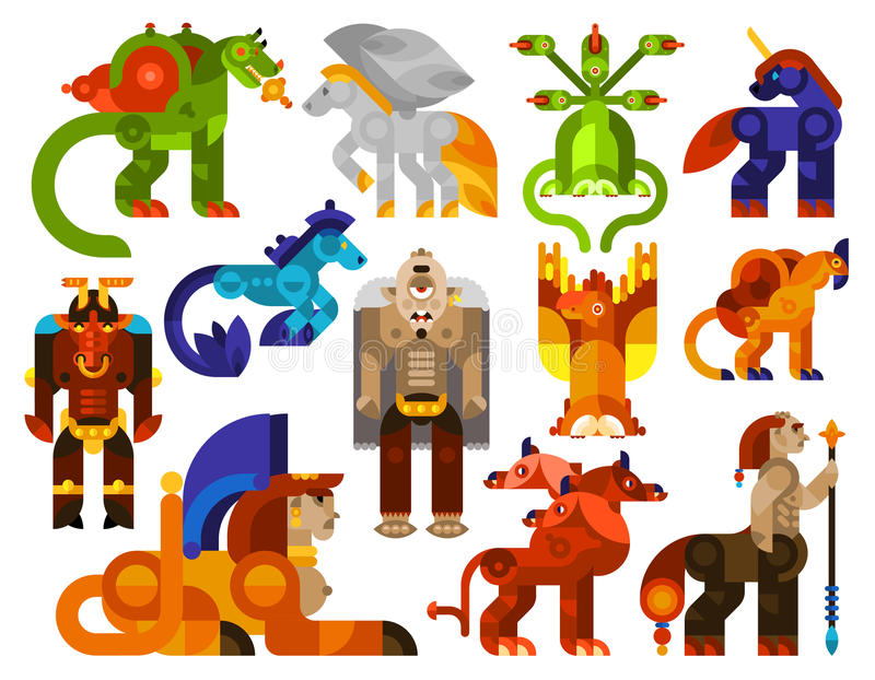 Mythical creatures icons vector illustration