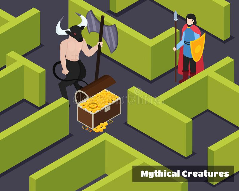 Mythical Creatures Isometric Composition stock illustration