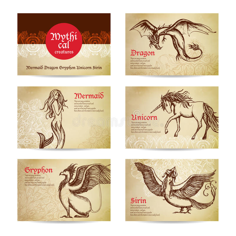 Mythical Creatures Set stock illustration
