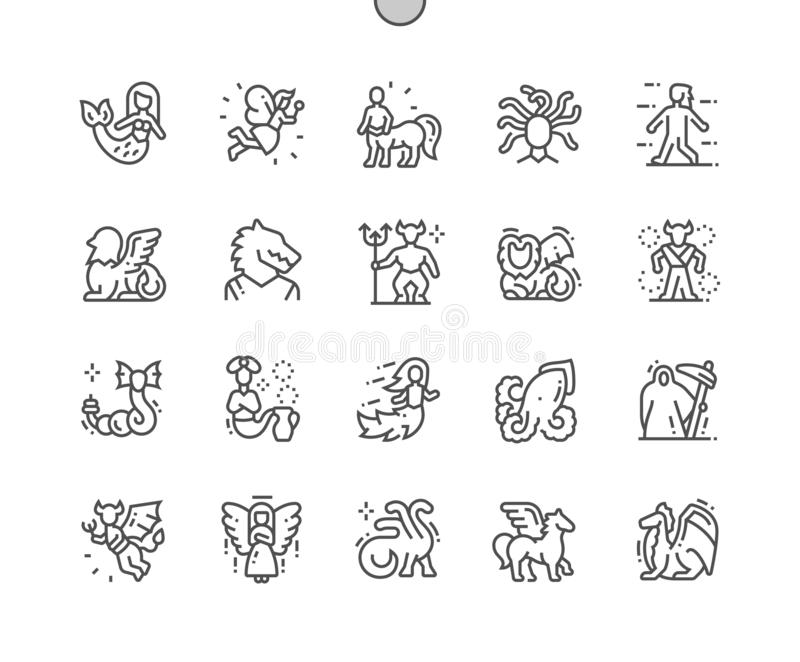 Mythical creatures Well-crafted Pixel Perfect Vector Thin Line Icons 30 2x Grid for Web Graphics and Apps stock illustration