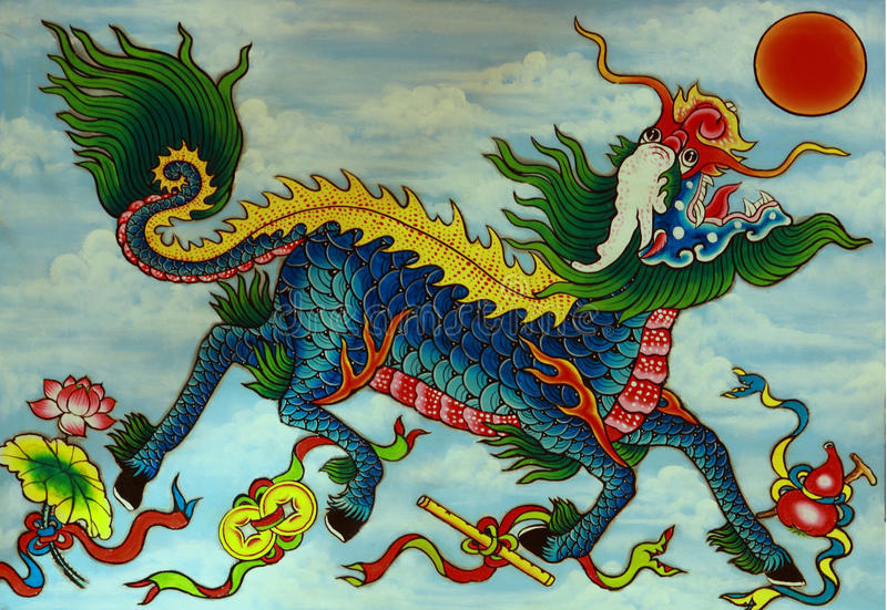 Download Mythical Dragon, Painted Relief Stock Photo - Image: 15226818
