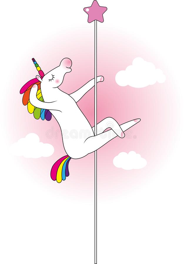 Unicorn pole dancer. Mythical funny creature unicorn as pole dancer royalty free illustration