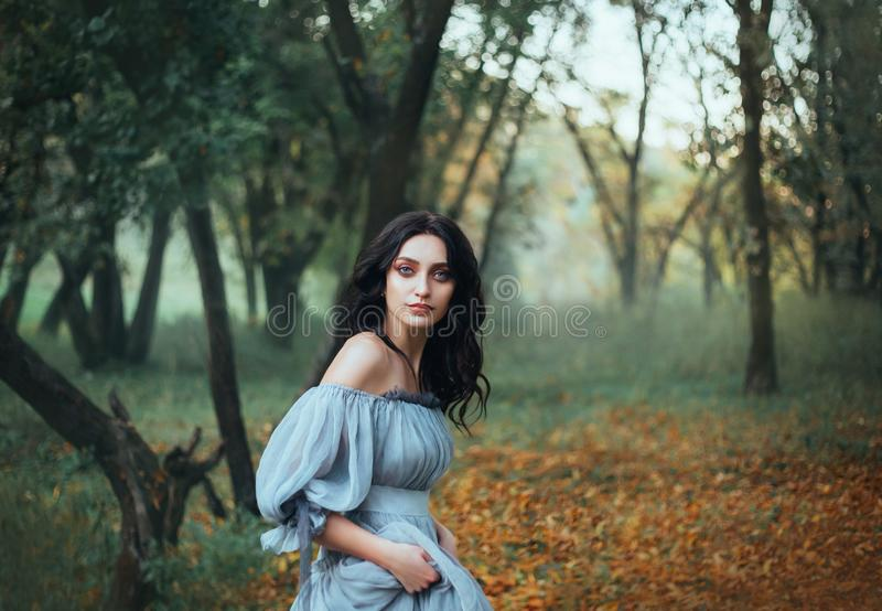 Mythical story about woman Pandora, lady with tar black hair and blue eyes royalty free stock photo