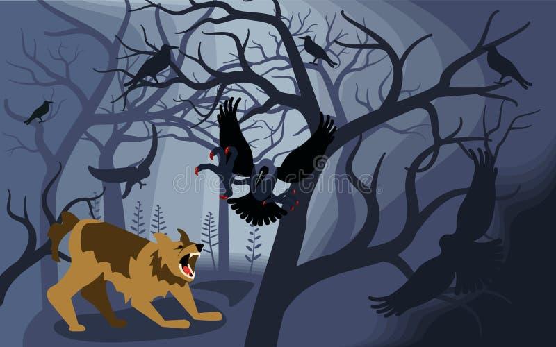Mythical werewolf fights black ravens royalty free illustration