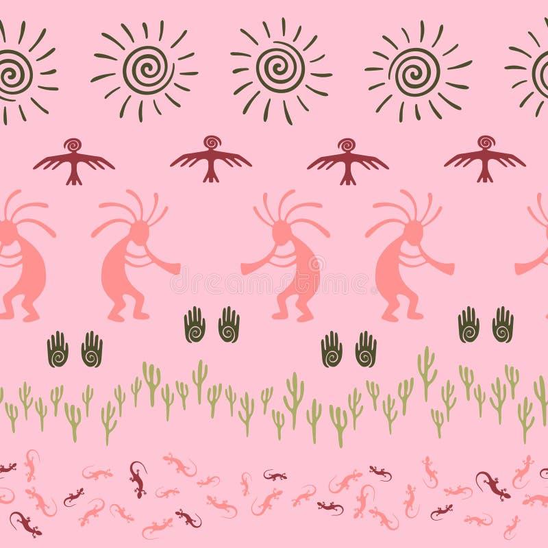 Mythisch, ontwerp met gekko, Kokopelli-vruchtbaarheidsgod, zon, vogel, cactussen stock illustratie
